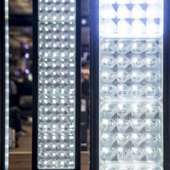 Briques de verre pour les lustres LED du Centre Commercial EURALILLE