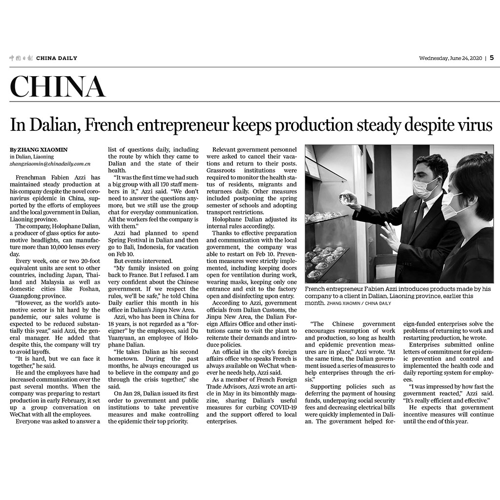 China Daily, interview de Fabien AZZI